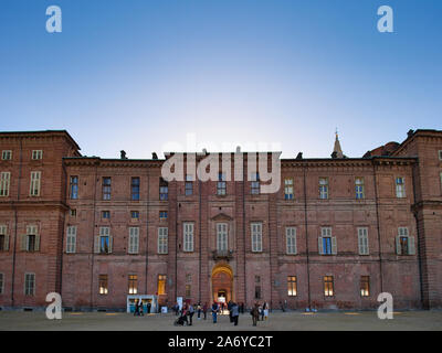 View of the Entrance of the Royal Castle of Turin from the gardens - Stock Photo