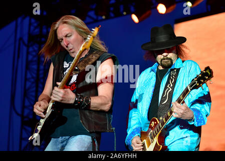 Gary Rossington of Lynyrd Skynyrd on stage at the Stagecoach Festival in Indio, California. - Stock Photo