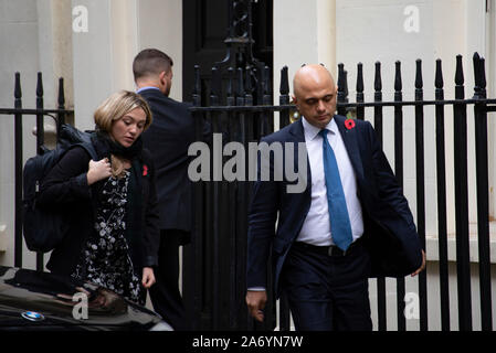 London, UK. 29th October 2019.  Chancellor of the Exchequer Sajid Javid, leaving Downing Street after a Cabinet Meeting. Claire Doherty/Alamy Live News. - Stock Photo