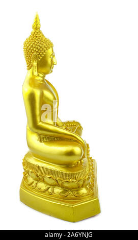 Buddha statue made of gold at isolated white background