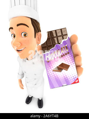 3d head chef holding chocolate bar, illustration with isolated white background - Stock Photo