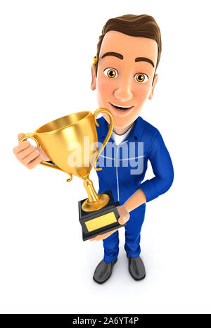 3d mechanic standing with gold trophy cup, illustration with isolated white background - Stock Photo