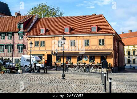 Colourful old town Ystad Sweden on a sunny day. - Stock Photo