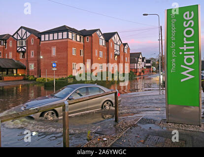 Severe flooding in Northwich Town, Chester way, River Weaver October 2019, Cheshire, England, UK - Waitrose Car Park Flooding - Stock Photo