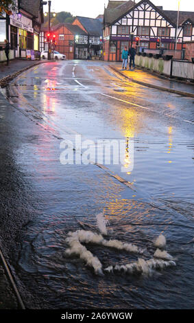 Severe flooding in Northwich Town, Chester way, River Weaver October 2019, Cheshire, England, UK - Drains / Grid lifted Stock Photo