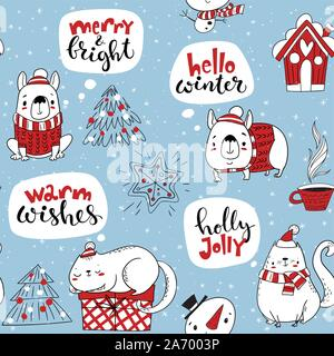 Vector seamless pattern for winter holidays with cute cats and dogs and Christmas decorations. - Stock Photo