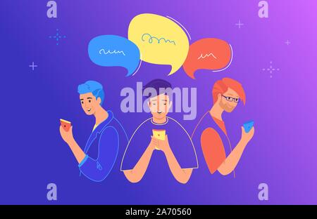 Social media chat and communication concept flat vector illustration. Teenage boys and girls using mobile smartphone for chatting, texting, comments i