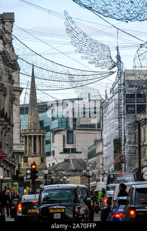 Regent Street, London, UK 29th October 2019 Christmas lights have already been  installed on Regent Street in London. Credit: Matthew Chattle/Alamy Live News - Stock Photo