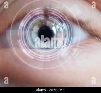 Bionic eye, futurist tech concept.eye with information overlay.close up. smart contact lens. - Stock Photo