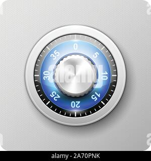 Safe door combination lock - deposit strongbox with turning knob with numbers - Stock Photo