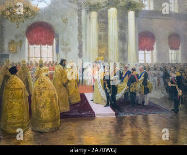 Wedding of Tsar Nicolas II and Grand Duchess Alexandra Fyodorovna.  After a work by Ilya Repin.  Tsar Nicolas II, 1868 - 1918.  Grand Duchess Alexandr - Stock Photo