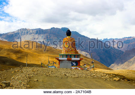 Langza Buddha Statue on the hills in Spiti Valley at a higher altitude, Himalayas, India - Stock Photo