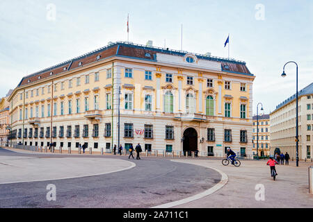 Bundeskanzleramt or Austrian Federal Chancellery on Ballhausplatz Square of Vienna - Stock Photo