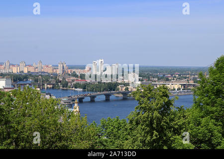 Aerial view on Obolonskyi District, Kyiv, Ukraine. The district is located in the northern part of the capital - Stock Photo