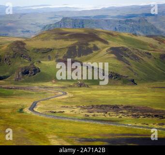 Beatiful green landscape as seen from Dyrhólaey, Iceland