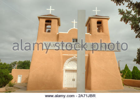 San Francisco de Asis Mission Church at Rancho de Taos, New Mexico from the front of the church inside the wall. - Stock Photo