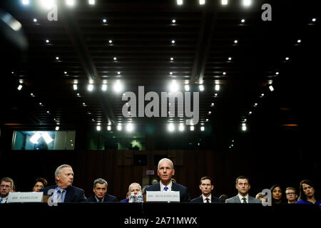 (191029) -- WASHINGTON, Oct. 29, 2019 (Xinhua) -- Boeing CEO Dennis Muilenburg (C) testifies before U.S. Senate Committee on Commerce, Science and Transportation on Capitol Hill in Washington D.C., the United States, on Oct. 29, 2019. Boeing CEO Dennis Muilenburg acknowledged mistakes as he testified before the U.S. Congress for the first time since two deadly air crashes of its 737 Max planes that killed 346 people, but he deflected tough questions such as why the company withheld details about its flawed new automated system. (Photo by Ting Shen/Xinhua) - Stock Photo