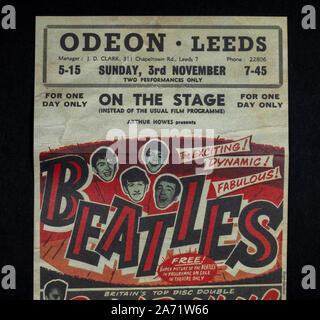 Replica memorabilia relating to the Beatles:  Poster advertising the performances of The Beatles at the Odeon Leeds, 3rd November 1963. - Stock Photo