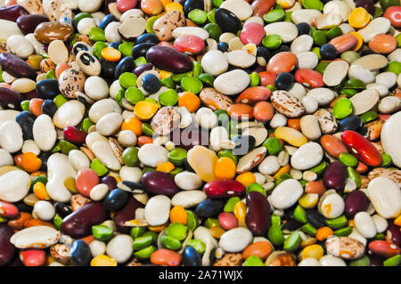 A large assortment of many variety of beans in a close up photo. - Stock Photo