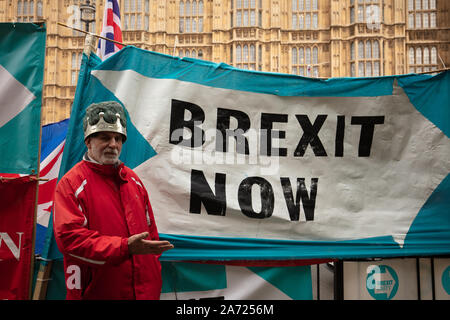 London, UK. 29th October 2019. Pro-Brexit campaigners outside Parliament, on the day the Members of the House of Commons decided to hold an election on 12th December. Credit: Joe Kuis / Alamy News - Stock Photo