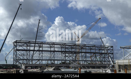 Fort Lauderdale, Florida, USA. 29th Oct, 2019. The new Inter Miami soccer stadium at the former site of Lockhart Stadium is moving along on Tuesday, Oct. 29, 2019. The stadium is scheduled to be completed in time for the David Beckham owned team's inaugural MLS season in early 2020. Inter Miami plans to play in Fort Lauderdale until the Miami stadium is complete. Afterwards, the Lockhart site will be a training complex for Inter MiamiÃs MLS, USL League One and academy teams. Credit: Rolando Otero/ZUMA Wire/Alamy Live News - Stock Photo