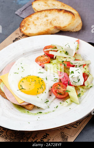 Fried Egg on Sandwich Toast Bread Top Down View - Stock Photo