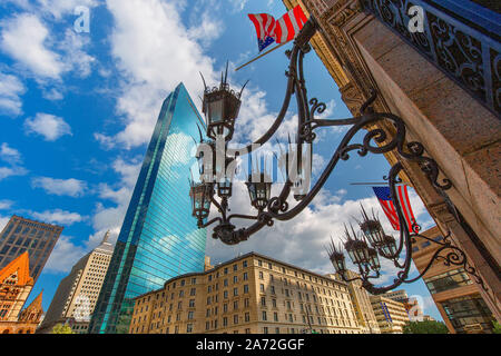 Boston, Copley Square in downtown and scenic skyline