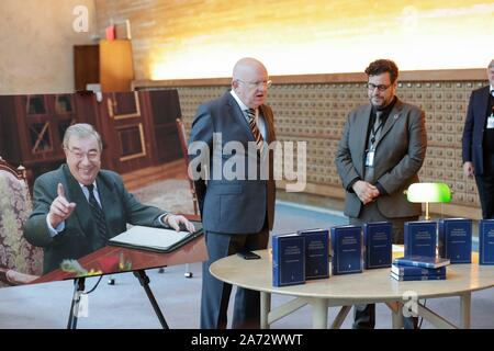 United Nations, New York, USA, October 30, 2019 - Russian Ambassador to the UN Vassily Nebenzia handover a hard copy of a compendium of academic works by E.Primakov (renowned Russian diplomat and statesman) to the Dag Hammerskjold Library today at the UN Headquarters in New York.Photo: Luiz Rampelotto/EuropaNewswire PHOTO CREDIT MANDATORY. | usage worldwide - Stock Photo