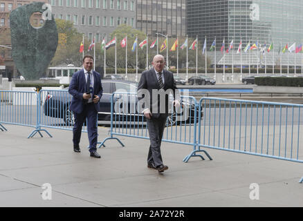 New York, NY, USA. 29th Oct, 2019. United Nations, New York, USA, October 30, 2019 - Russian Ambassador to the UN Vassily Nebenzia handover a hard copy of a compendium of academic works by E.Primakov (renowned Russian diplomat and statesman) to the Dag Hammerskjold Library today at the UN Headquarters in New York.Photo: Luiz Rampelotto/EuropaNewswire.PHOTO CREDIT MANDATORY. Credit: Luiz Rampelotto/ZUMA Wire/Alamy Live News - Stock Photo