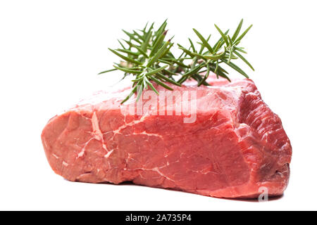 Roast beef with rosemary isolated on white background - Stock Photo