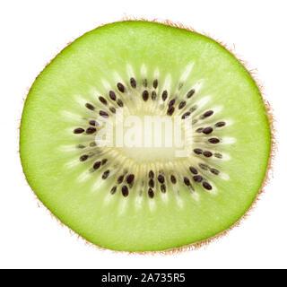 Single slice of a kiwi isolated on white background - Stock Photo
