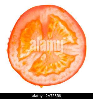 Single slice of a tomato isolated on white background - Stock Photo