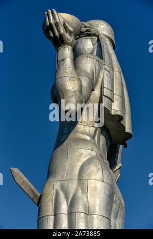 Old Tbilisi, Republic of Georgia, October 17, 2019, Kartlis Deda or Mother of Georgia on the top of Sololaki hills is a monument in Georgia's capital - Stock Photo