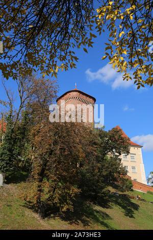 Cracow. Krakow. Poland. Wawel, royal castle on Wawel Hill. Baszta Senatorska tower, part of castle fortification. - Stock Photo