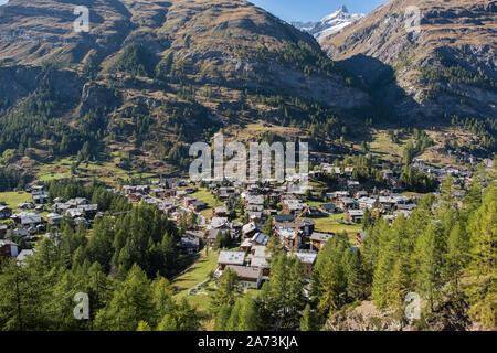 Zermatt village in Switzerland with the typical houses