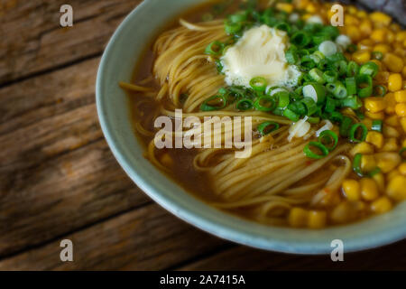 Food photography of a vegan Japanese miso ramen noodle dish - Stock Photo