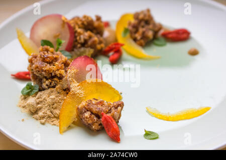 Food photography of a modernist raw food dessert - Stock Photo