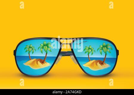 island sun glasses on yellow - Stock Photo
