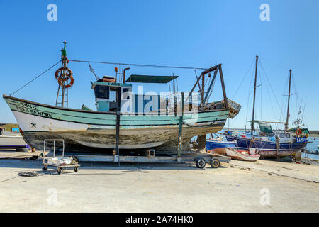 09.16.2019. Algarve, Portugal. Fishing boat under repair, Santa Luzia, East Algarve - Stock Photo