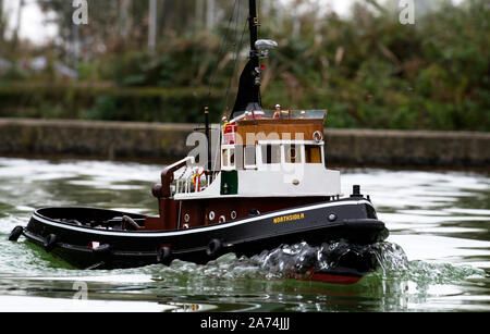 Radio controlled model tug boat - Stock Photo