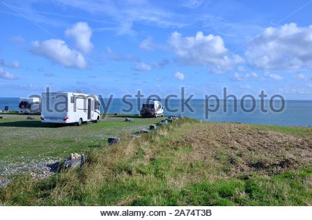 Campers on a camp ground near the town of Arromanches-les-Bains in Normandy on the coast of the English Channel,France,one of the allied landing place - Stock Photo