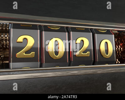 Gold number 2020 (two thousand and twenty) on a dark background with reflections of red light in the style slot machines. 3D illustration - Stock Photo