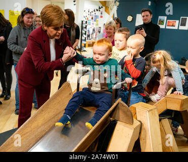 Stirling, Scotland, UK. 30th Oct, 2019. Scotland's First Minister Nicola Sturgeon joined SNP candidate for Stirling Alyn Smith for a campaign event at Made in Stirling Store and Creative Hub in Stirling. During a walkabout she addressed a group of SNP supporters and stated that A win for the SNP would be an unequivocal and irresistible demand for Scotland's right to choose it's own future. Credit: Iain Masterton/Alamy Live News - Stock Photo