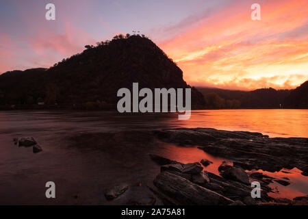 Loreley rock at dawn, Rhineland, Germany - Stock Photo