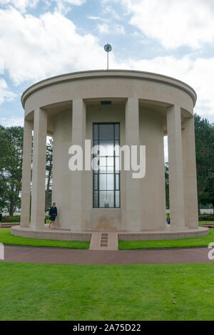Colleville-sur-Mer, Calvados, Normandy / France - 16 August 2019: the multi-confessional chapel in the American Cemetery at Omaha Beach - Stock Photo