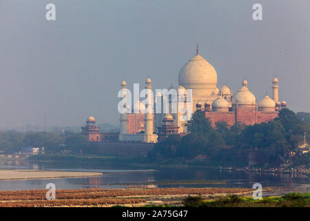 India, Uttar Pradesh, Agra, view of Taj Mahal from Agra Fort - Stock Photo