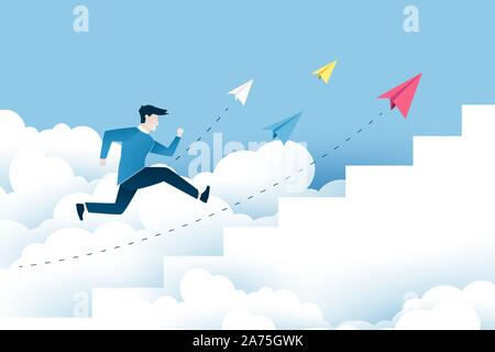 A man is jumping on the stairs, steps to success. Business ideas design in EPS10 vector illustration.