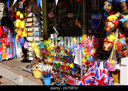 Weymouth, Dorset, UK. May 19, 2018. Beach goods making a Pavement display on the High street at Weymouth in Dorset, UK. - Stock Photo