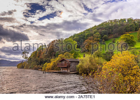Pooley Bridge Boat House. Ullswater. The Lake District. - Stock Photo