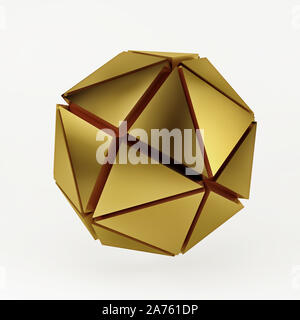 Gold spheres geometry background. Abstract 3d render